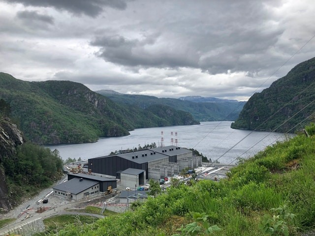 A converter power station is being built to help transmit electricity from Norway's hydropower to the British grid